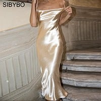 Sibybo Sexy Spaghetti Strap Backless Summer Dress Women Satin Lace Up Trumpet Long Dress Elegant Bodycon Party Dresses Vestidos