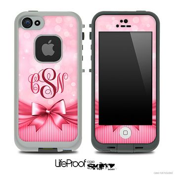 Magical Pink Bow Custom Monogrammed Skin for the iPhone 5 or 4/4s LifeProof Case