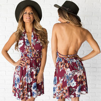 Bahamas Breeze Floral Halter Dress