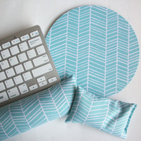 Mouse pad, keyboard rest, and mouse wrist rest set - aqua blue herringbone - coworker desk cubical office accessories