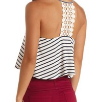 Crocheted Racerback Striped Crop Top by Charlotte Russe