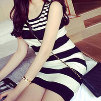 Striped Sleeveless Knitted Dress