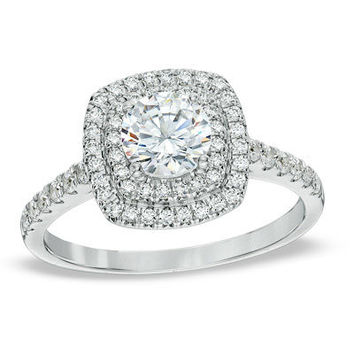 1-1/4 CT. T.W. Diamond Square Double Frame Engagement Ring in 14K White Gold - View All Rings - Zales