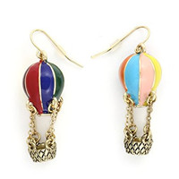 Hot Air Balloon Dangling Earrings Rainbow Chandelier Vintage Gold Tone EE26 Statement Fashion Jewelry