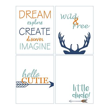 Wild and Free Deer Tribal Nursery Set of 4 Orange and Blue Kids Bedroom Decor Prints