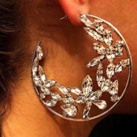 Creative new ice flower earrings C earrings exaggerated alloy diamond street fashion female accessories F0509-1