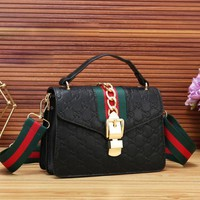 GUCCI Fashion New More Letter Print Stripe Handbag Shoulder Bag Women Black