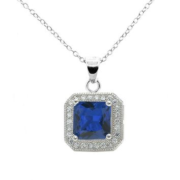 """Londyn 18k White Gold Princess Cut CZ Halo Pendant Necklace with 18"""" Chain - Silver"""