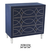 Crestview Cobalt Blue Fabric and Chrome Nailhead 3 Drawer Chest - CVFZR1234