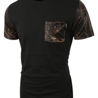 LE3NO Mens Faux Snake Skin Leather Short Sleeve T Shirt
