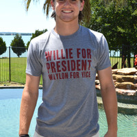 UNISEX Willie for President Tee- Heather Grey
