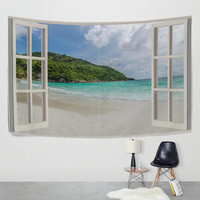 Open Window with Seaside Views Tapestry Wall Hanging Summer Beach Nature Landscape Wall Decor Art
