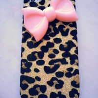 New Chic Elegant Big Pink Bow Gold Leopard Pattern Rhinstones Mobile Cell Phone Case Cover for iPhone 4s 5s 6 Plus Samsung - Casemoda   Pinkoi
