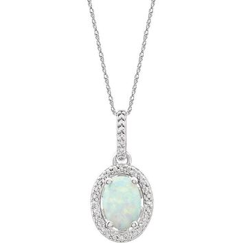 """Sterling Silver Oval Lab-Grown Opal & .01 CTW Diamond Halo-Style 18"""" Necklace"""