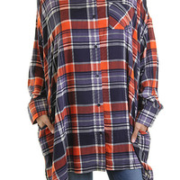 Plaid Shirt With Pockets - Orange/Navy