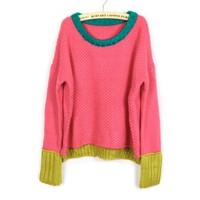 ZLYC Sweet Color Matching Long Scoop Neck Loose Plus Size Christmas Sweater