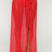 Adorn By You Cover-Up Skirt - Red