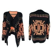 ZLYC Tribal Aztec Blanket Wrap Cardigan with Waterfall Open Front for Women