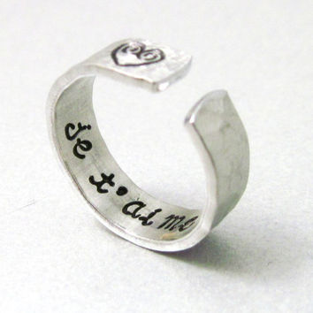 Valentine Secret Message Ring - JE T'AIME - Hand Stamped Aluminum Ring - Valentines Gifts Under 20