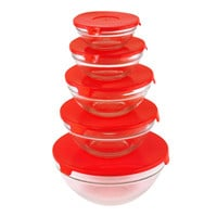 GLASS BOWLS WITH LIDS - RED