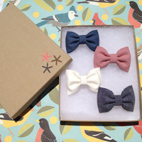Mauve, grey, navy and winter white hair bow lot from Seaside Sparrow. Brandy Melville inspired:)
