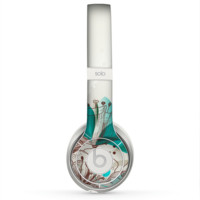 The Vintage Teal and Tan Abstract Floral Design Skin for the Beats by Dre Solo 2 Headphones
