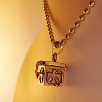 Secret bronze box with dove pendant necklace with ball chain