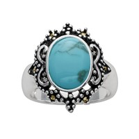 Silver Plated Simulated Turquoise & Marcasite Oval Ring (Blue)