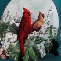 Springtime Spendor By: Rob Stine Cardinals on a Cherry Blossom Branch Porcelain Plate Collectables, Single Plate, Limited Edition, Birds
