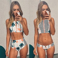Floral Palm Tree Bikini Set,High Neck Tank Zipper Striped Swimsuit