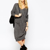 ASOS | ASOS Midi Dress In Mohair With V-Neck at ASOS