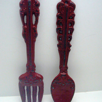 Fork Spoon Set Wall Decor Shabby Chic Colonial Heritage Red Rustic Weathered Distressed Kitchen Home Decor Oversized Country Chic Wall Art