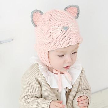 Infant Baby Girls Hat Toddler Kids Autumn Winter Warm Hats Cute Cat Knitted Beanie Caps Boys Girls born Photo Props