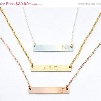 BLACK FRIDAY SALE Personalized Horizontal Bar Necklace - Initial Charm Necklace - Available in Rose Gold, Yellow Gold or sterling silver -
