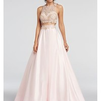 Two Piece Beaded Satin Prom Crop Top and Skirt - Davids Bridal