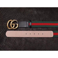 New Men Gucci GG belt Black Leather Gucci Belt With Gold Buckle423