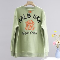 NY fashion hot sell lady leisure embroidery logo round collar sweater