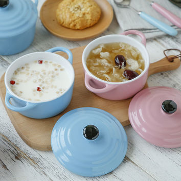 Round Ceramic Casserole Mini Roasting Pots Oeufs Cocotte Soup Bowl Small Saucepot with lid Bakeware Free Shipping