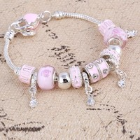 Crystal Stainless Steel Charm Bracelets