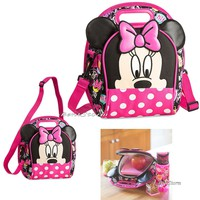 Licensed cool Minnie Mouse School Insulated Lunch Box Tote Bag Pink Polka Dot Disney Store NEW
