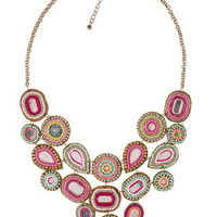 Embellished Mirror Statement Necklace   Multi   Accessorize
