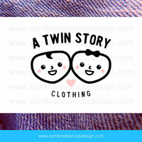 OOAK Premade Logo Design - Twin Faces - Perfect for a baby clothing brand or a children accessories boutique