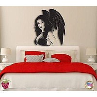 Wall Stickers Girl Angel Woman with Wings Modern Decor for Bedroom Unique Gift z1303
