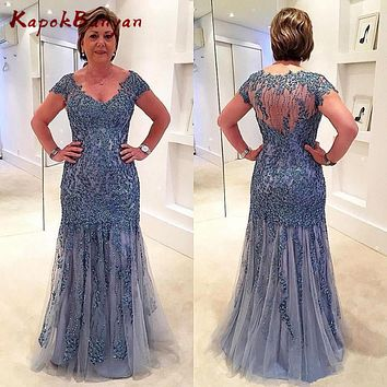 Shiny Rhinestones Beaded Long Mother of the Bride Dress Sheer Back Formal Evening Gown