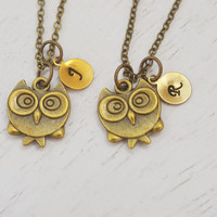personalized sister necklace, best friend necklace set, owl jewelry necklace, initial necklace, owl, animal jewelry, matching gift set, bird