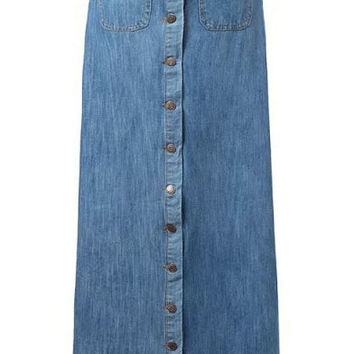 Blue Maxi Denim Skirt with Buttons