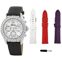 """Breda Women's 5113_Black.3bands """"Victoria"""" Collection With Three Bands and Rhinestone Encrusted Mother-Of-Pearl Dial Watch Gift Set"""