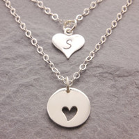 Mother Daughter Necklace, pair necklace, matching necklace, message jewelry, heart necklace, mothers day jewelry, daughter necklace, N10