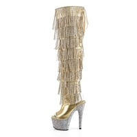 Bejeweled 3019 RS Chrome Fringe Thigh Boots Gold