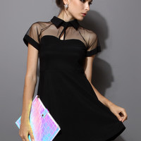 Mesh Peak Collar Skater Dress in Black Black